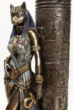 Egyptian Cat Goddess Bastet Candle Holder Statue Sculpture A