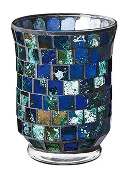 Gifted Living Mosaic Glass Candle Holder, Indigo Blue