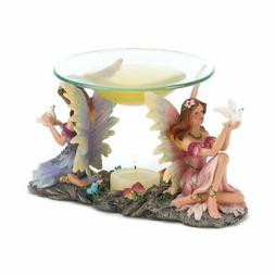 Gifts & Decor Mythical Twin Fairies Oil Warmer Tealight Cand