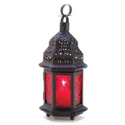 Gifts & Decor Red Glass Metal Moroccan Candle Holder Hanging