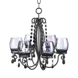 Glass Chandelier Votive Candle Holder Black Iron and Beads E