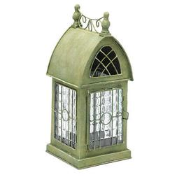 Glass and Metal Architectural Candle Holder Lantern - Green