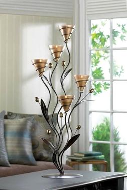 Golden 5 Cup Tealight Bouquet Candle Holder Candelabra on Le