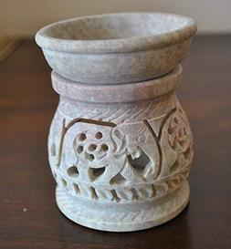Hand Carved 3' Oil Diffuser Made of Soapstone with Tea Light
