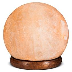 Himalayan Hand Carved Salt Lamp - Sphere Shaped Lamp with Wo