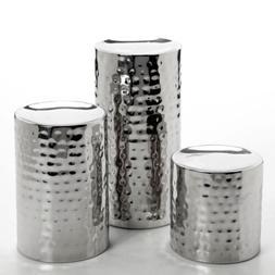Hosley SILVER FINISH Pillar LED Candle Holders, Set of 3. -I