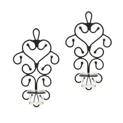 Hosley Set of 2 Iron Wall Art Tea Light Candle Sconces Plaqu
