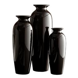 Hosley Set of 3 Black Ceramic Vases in Gift Box. Ideal Gift