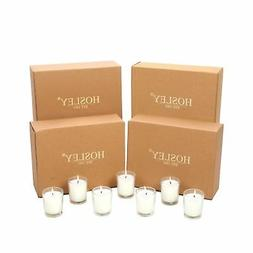 Hosley Set of 48 Unscented Clear Glass Wax Filled Votive Can