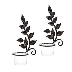 """Hosley Set of Two 8"""" Iron Wall Sconce, LED Tea Light Candle"""