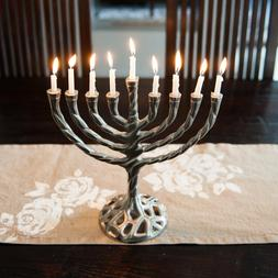 Insideretail Menorah Curved Branch Candle Holder, Pweter Fin