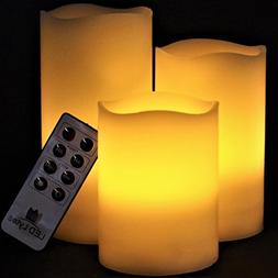 LED Lytes Flickering Flameless Candles - Set of 3 Ivory Wax