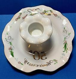Lefton China 50th Anniversary Candle Holder 1983