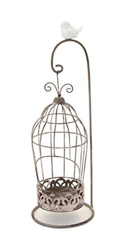 "Melrose 13"" Vintage Rose Antique-Style Hanging Bird Cage Tea"