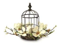 "Melrose 15"" Elegant Magnolia Flower Bird Cage Votive Candle"