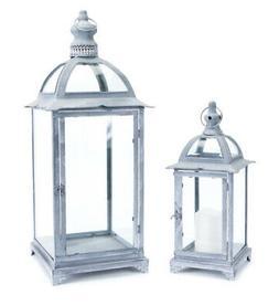 Melrose Set of 2 Pagoda Crest Weathered Pillar Candle Holder