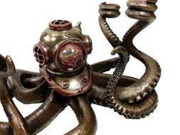 Nautical Steampunk Octopus Candelabrum Diving Helmet Candle