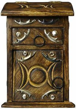 New Age Wooden Triple Moon Herb Cupboard