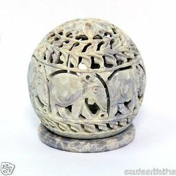 3.5 Inch Hand carved Stone Tealight Candle Holder Elephant W