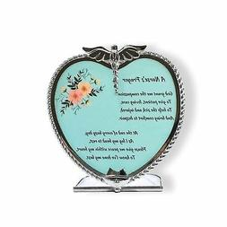 Nurse's Prayer Candle Holder Pewter Heart Shape with Touchin