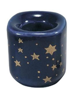 """One Blue Celestial Ceramic Candle Holders for 4"""" Mini Taper"""