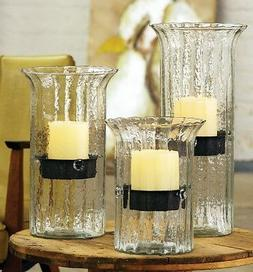 Ribbed Glass Hurricane Candle Holder Set Candleholder Rustic