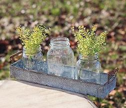 Rustic Primitive~Galvanized Rusty Metal Candle Holder Tray P