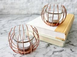 Set of Two Rose Gold Copper Tealight Candle Holders