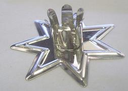 "Silver Fairy Star Candle Holder for 4"" x 1/2"" Candles"