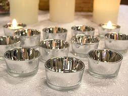 Silver Glass Tea Light Candle Holders - Set of 72 - Metallic