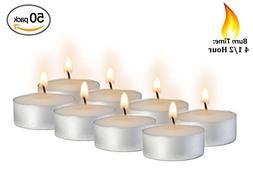 Tea Light Candles - 50 Bulk Pack - White Unscented Travel, C
