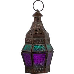 Turquoise & Purple Glass Moroccan Lantern Candle Holder Meta