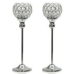 VINCIGANT Crystal Modern Candle Holders Pillar Anniversary C