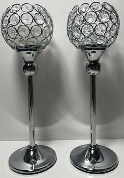 VINCIGANT Valentines Day Silver Crystal Tea Light Candle Hol