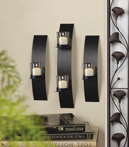 WALL SCONCE SET: Contemporary Curved Black Iron Candle Holde