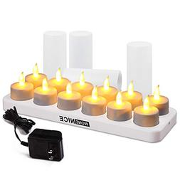 WoneNice Rechargeable Tea Light Flickering Tealight Candles