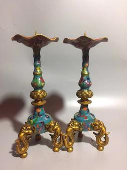A Pair Chinese Pure Bronze Cloisonne Carved Candlestick <fon