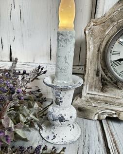 Alette Cream Rustic Taper Candle Holder - Vintage Farmhouse