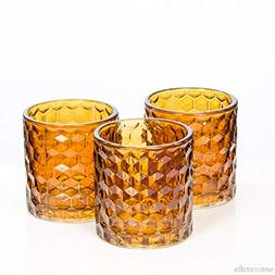 Amber Chunky Honeycomb Glass Votive & Tealight Holder Set of