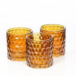 Richland Amber Chunky Honeycomb Glass Votive & Tealight Cand