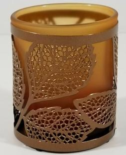 ~Yankee Candle~AMBER LEAVES 2 PIECE TEA LIGHT CANDLE HOLDER~
