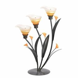 Amber Lilies Flower Decorative Tealight Candle Holder Home &