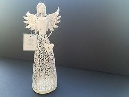 Angel Candle Votive Holder White Small Distressed Stamped Me