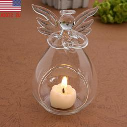 Angel-Glass Crystal Hanging Tea Light Candle Holder Home Dec