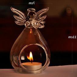 Angel Glass Crystal Hanging Tea Light Candle Holder Home Dec