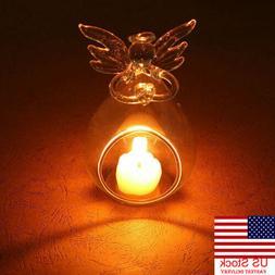 Angel Glass-Crystal Hanging Tea Light Candle Holder Home Dec