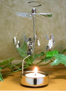 Angels Spinning Candle Holder Silver with Tea Light