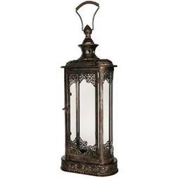 Antique Gold Oblong Metal Lantern Vintage Style Lantern Mant