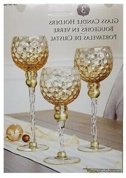 Antique Glass Candle Holders Set of 3