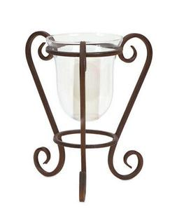 """12.5"""" Antiqued Brown Metal and Glass Scrolled Base Hurricane"""